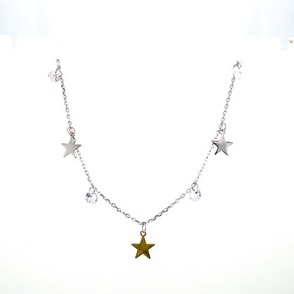 Silver Star & Crystal Charm Choker