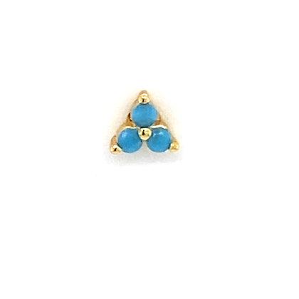 Single Mini Turquoise Trinity Crystal Stud
