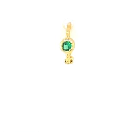 Single Gold Emerald Green Single Stone Huggie