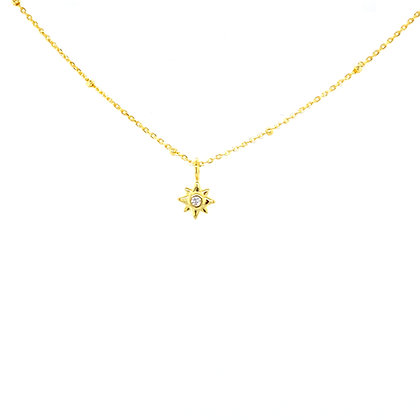 Gold Star Charm Beaded Necklace