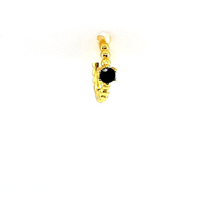 Single Beaded Black Single Stone Huggie