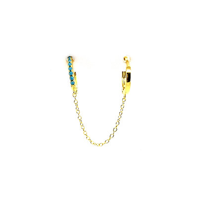 Double Lotte Turquoise Huggie Chain Earring