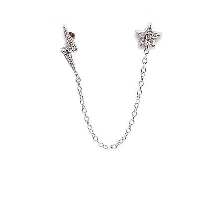 Double Piercing Lightning & Star Crystal Stud Chain