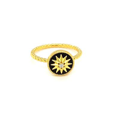 Black & Gold Star Ring