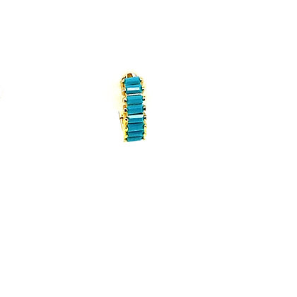 Single Turquoise Baguette Huggie