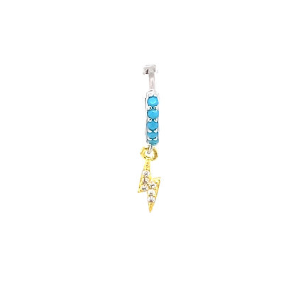 Single Silver Turquoise Lightning Crystal Gold Charm Huggie