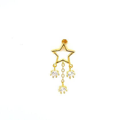 Single Gold Star Crystal Drop Charm Stud