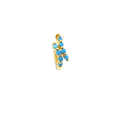 Single Two Lined Turquoise Huggie