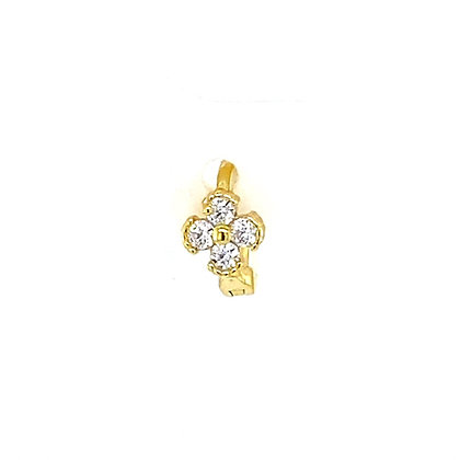 Single Gold Crystal Flower Huggie
