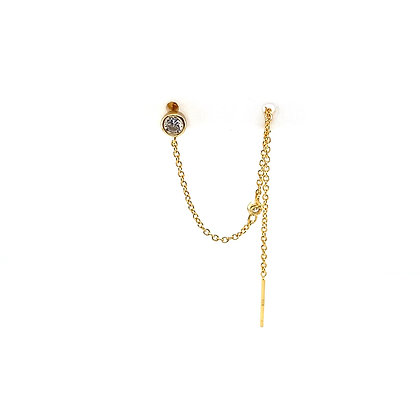 Double Piercing Gold Crystal Stud & Threader