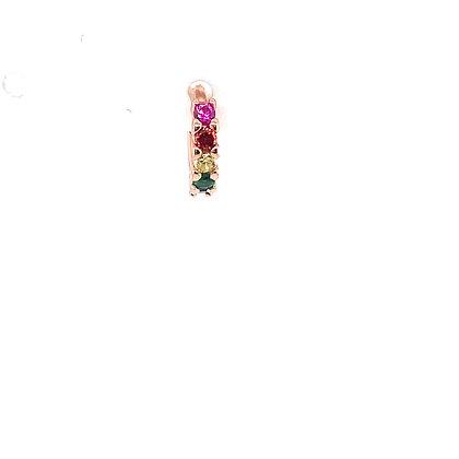 Single Rose Gold Rainbow Huggie