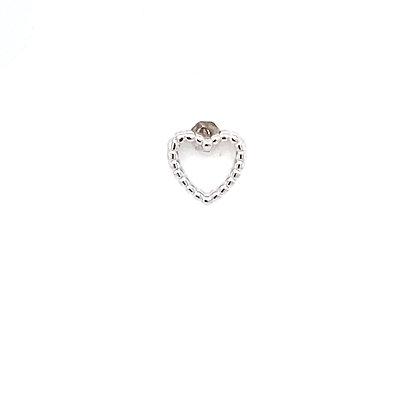 Single Silver Beaded Heart Stud