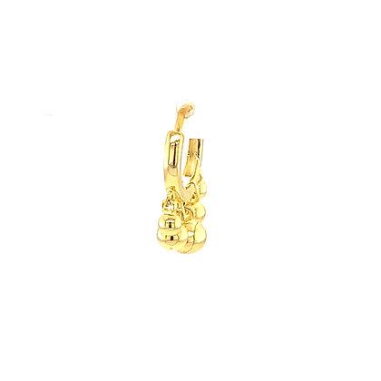Single Gold Beaded Charm Hoop