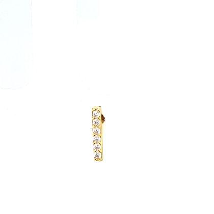 Single Gold Bar Crystal Stud Climber