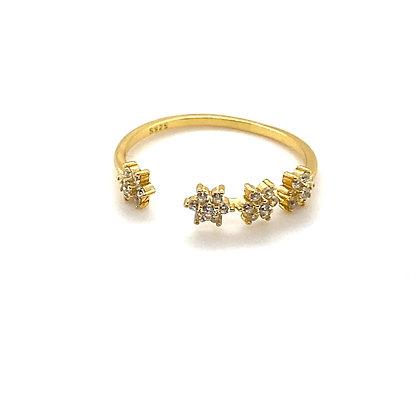 Crystal Flower Adjustable Ring
