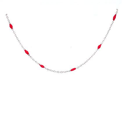 Red Enamel Bead Choker Chain