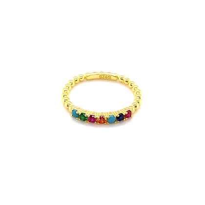 Gold Beaded Rainbow Ring