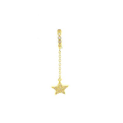 Single Gold Star Crystal Chain Huggie