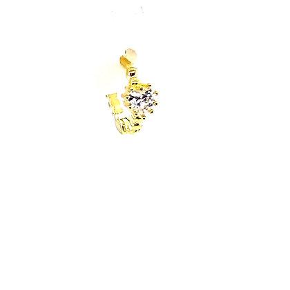 Single Gold Beaded Crystal Small Stone Huggie