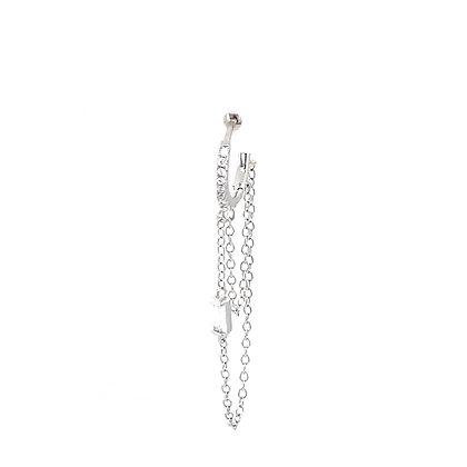 Single Baguette Crystal Chain Earring Huggie Chain