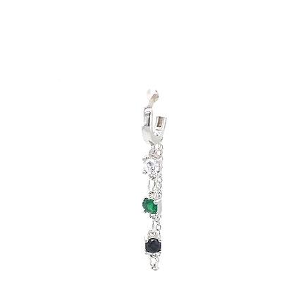 Single Emerald Green & Black Crystal Chain Huggie