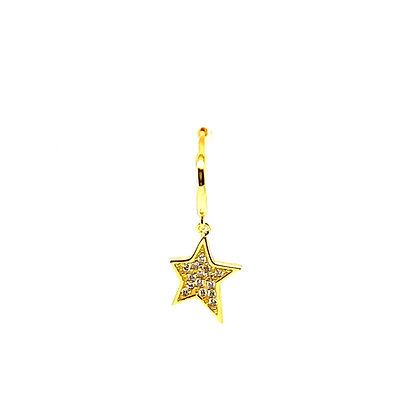 Single Crystal Star Burst Charm Huggie