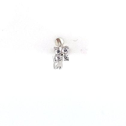 Single Flower Crystal Stone Huggie
