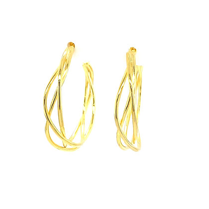 Pair Of Gold Twisted Stud Hoops