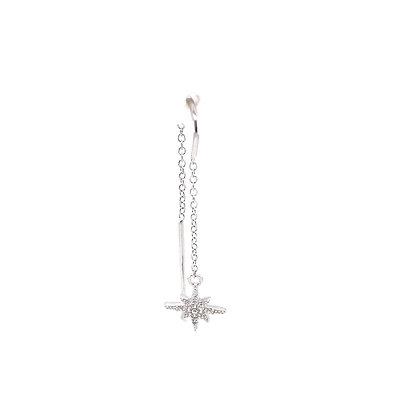 Single Star Burst Threader Earring