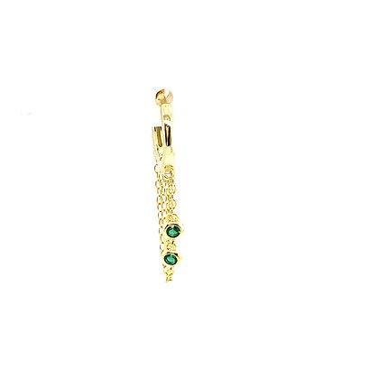 Single Poppy Green Stone Huggie Chain