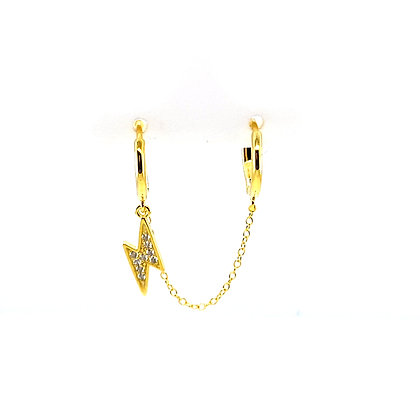 Double Lightning Huggie Chain Earring