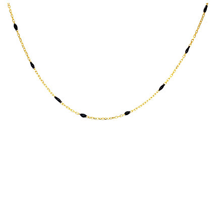Black Enamel Beaded Choker Chain