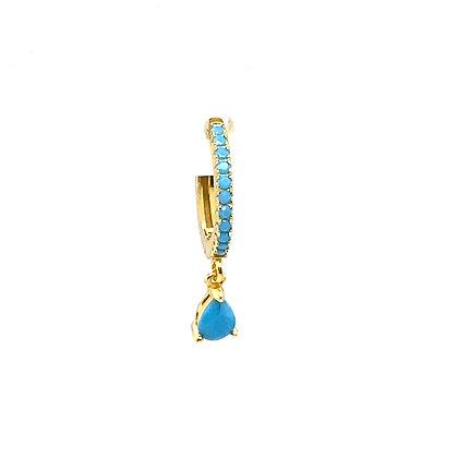 Single Turquoise Full Crystal Charm Huggie