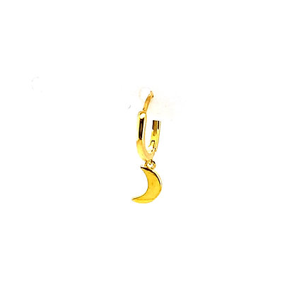 Single Gold Moon Charm Huggie