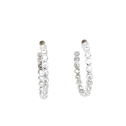 Pair Of White Crystal Stone Stud Hoop