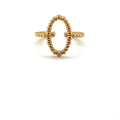 Gold Beaded Circle Adjustable Ring