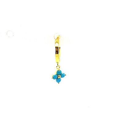 Single Turquoise Crystal Flower Huggie