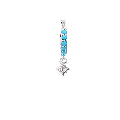 Single Silver Turquoise Flower Crystal Charm Huggie