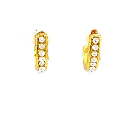 Pair Of Pearl & Gold Stud Hoops