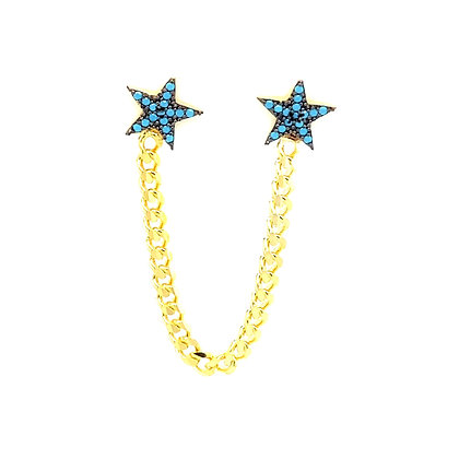 Double Piercing Turquoise  Star Stud Chain