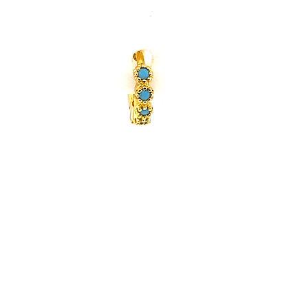 Single Vintage Turquoise Mini Huggie