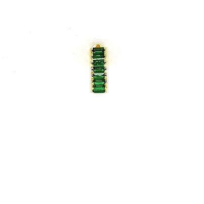 Single Emerald Green Baguette Huggie