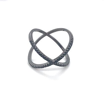 Black Crystal Criss Cross Ring