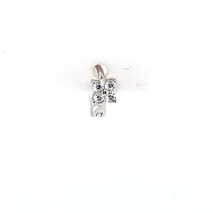 Single Mini Flower Crystal Stone Huggie