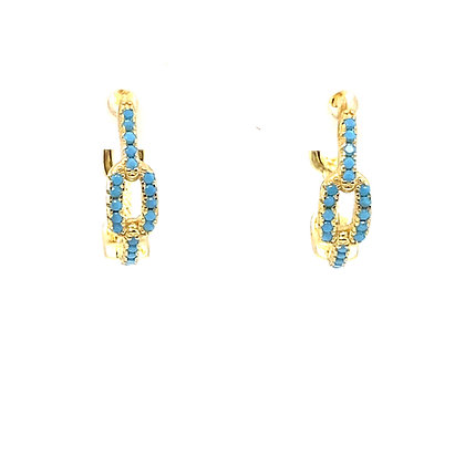 Pair Of Turquoise Chain Hoops