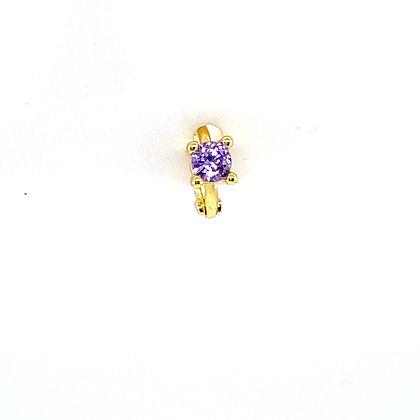 Single Mini Purple Stone Huggie