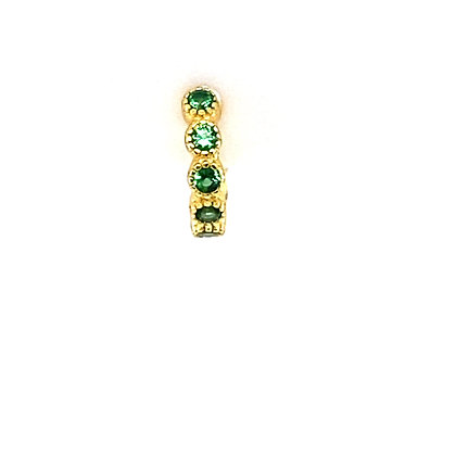 Single Emerald Green Mini Vintage Crystal Huggie