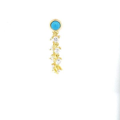 Single Turquoise Stone Crystal Stud Chain
