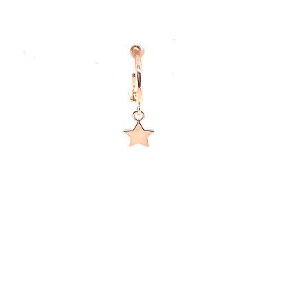 Single Rose Gold Star Huggie