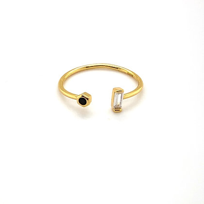 Gold Baguette & Black Crystal Adjustable Ring